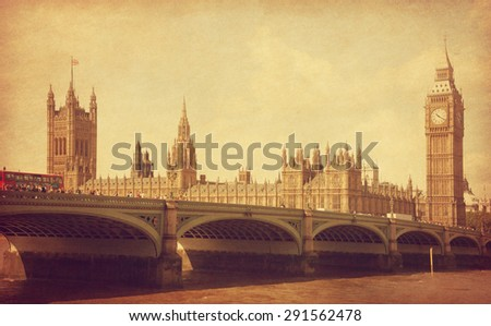 The Palace of Westminster, London, UK.  Added  paper texture. - stock photo