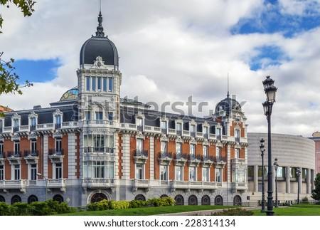 The Palacio del Senado is the headquarters of the Spanish upper house of Parliament, Madrid - stock photo