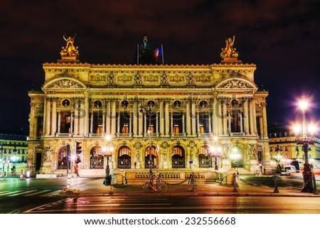The Palais Garnier (National Opera House) in Paris, France in the night - stock photo