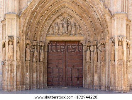 The Palau Door of the Valencia Cathedral, Spain - stock photo
