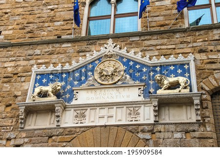 The Palazzo Vecchio is the town hall of Florence, Italy.  - stock photo