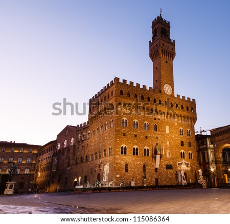 The Palazzo Vecchio (Old Palace) a Massive Romanesque Fortress Palace, is the Town Hall of Florence, Italy - stock photo