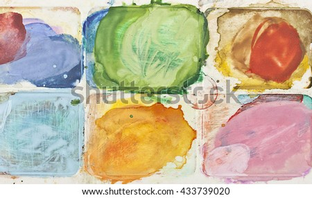 The palette of watercolor paint. - stock photo