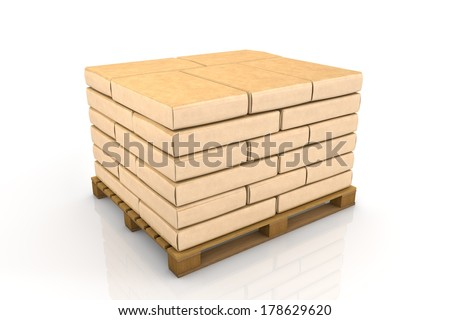 The pallet of cement bags - stock photo