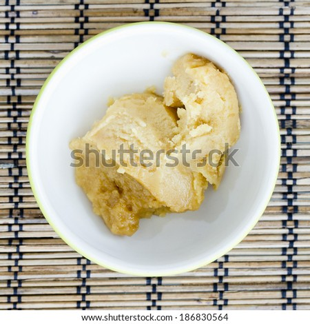 The palm sugar or Jaggery in the market of Thailand - stock photo
