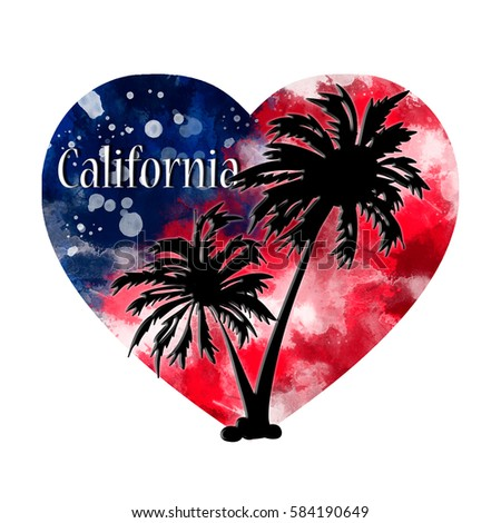 palms on watercolor heart background usa stock illustration