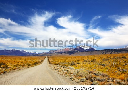 The pampas in Patagonia, Argentina. The road in the desert - stock photo