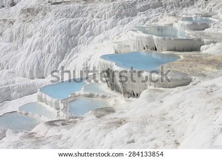 The Pamukkale natural lakes in Hierapolis Turkey - stock photo