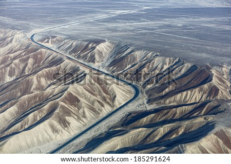 The pan-American highway in the area of the Nazca desert - Peru, South America - stock photo
