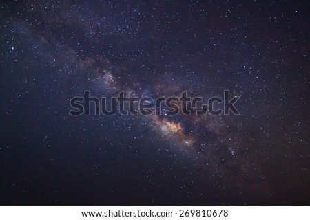 The Panorama Milky Way galaxy, Long exposure photograph  - stock photo