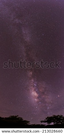 The Panorama Milky Way .Long exposure photograph. - stock photo
