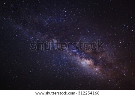 The Panorama Milky Way ,Long exposure photograph,with grain