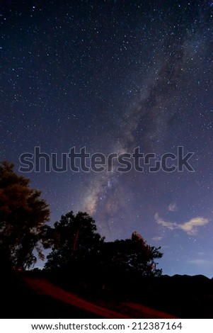 the Panorama Milky Way rises over the road in Thailand.Long exposure photograph. - stock photo