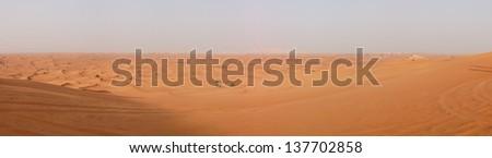 The panorama of desert during sunset, Dubai, UAE - stock photo