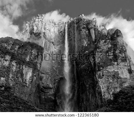 The panorama of the Angel Falls ( Salto Angel ) is worlds highest waterfalls (978 m), Venezuela (black and white) - stock photo