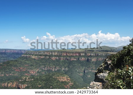 the panorama route  in south africa near hoedspruit with big canyon and great view on landscape - stock photo