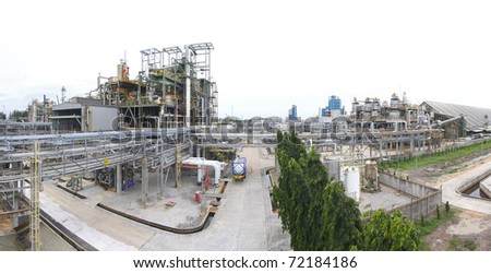 The panorama view of the petrochemical industrial estate from the higher view - stock photo