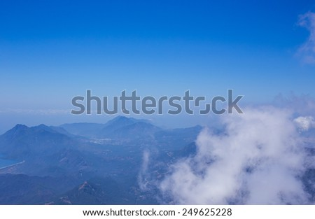 The panoramic view from Olympos Mountain Tahtali, Kemer, Antalya Province, Turkey