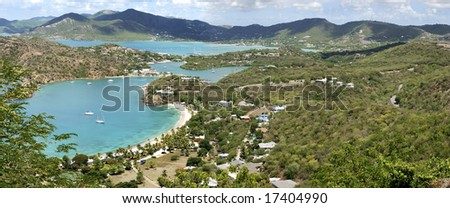 The panoramic view of Nelson's Bay where Nelson's Dockyard is standing, the only one working Georgian dockyard in the world (Antigua Island, Antigua & Barbuda). - stock photo