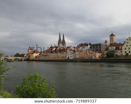 The panoramic view of one old Europe town with the running river