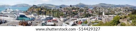 The panoramic view of Port Chalmers, little suburb district of Dunedin city (New Zealand).