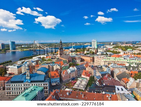 The panoramic view of Riga, Latvia  from St. Peter's Church - stock photo