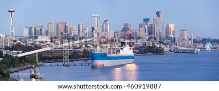 The panoramic view of Seattle downtown after at dusk (Washington).
