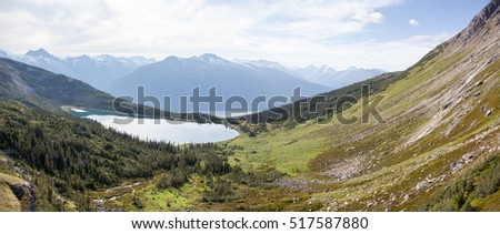 The panoramic view with Upper Dewey Lake (Skagway, Alaska).