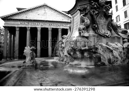 The Pantheon with Fountain in Rome, Italy - stock photo