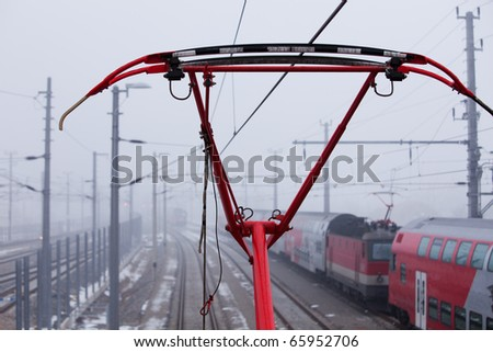 the pantograph of the train is red