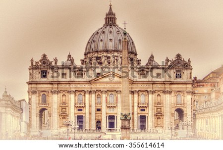 The Papal Basilica of Saint Peter in the Vatican (Basilica Papale di San Pietro in Vaticano). Retro toned - stock photo