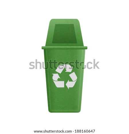 the paper cut of green recycle bin is can recycling to garbage for environmental conservation symbol
