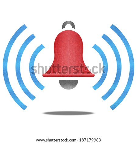 the paper cut of red alarm bell with blue signal is alert symbol icon on white for safety in emergency