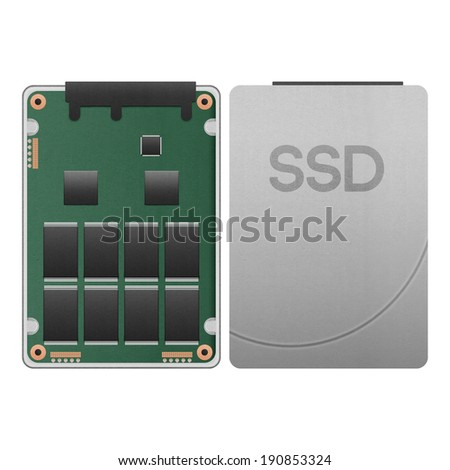 the paper cut of ssd, solid state drive isolated is data storage with hi speed SATA port in computer for safety on white background - stock photo