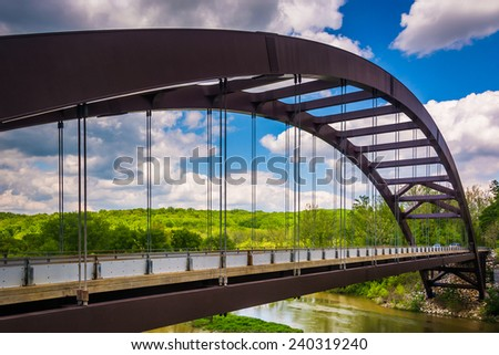 The Paper Mill Road Bridge over Loch Raven Reservoir in Baltimore, Maryland. - stock photo