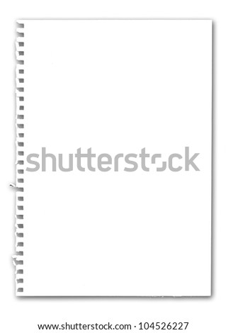 The paper on white background