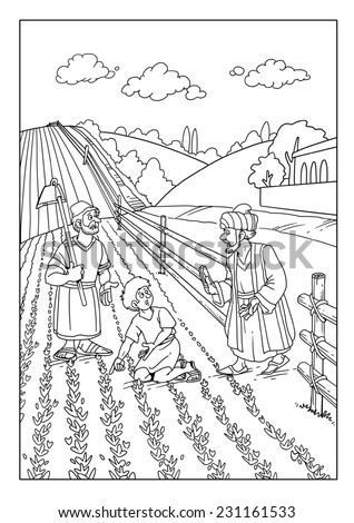 Parable Wheat Weeds Sown Field Stock Illustration 231161533