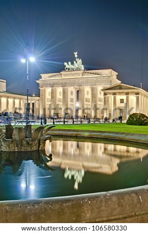 The Pariser Platz (Paris Square) on the east side of the Brandenburg Gate at Berlin, Germany - stock photo