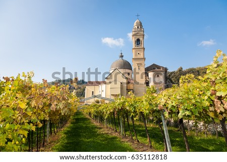 The parish church of Marano di Valpolicella  in the famous Valpolicella wine region in the Veneto area of northern Italy