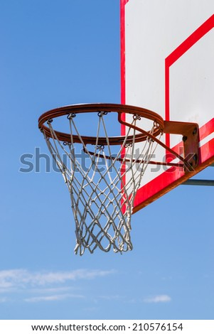 The park basketball backboard and net. - stock photo