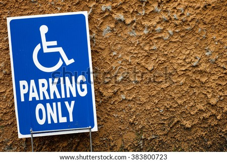 the Parking for disability people with red rough background