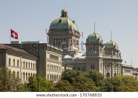 The parliament building Bundeshaus, the Federal Palace of Switzerland, Bern, Europe - stock photo