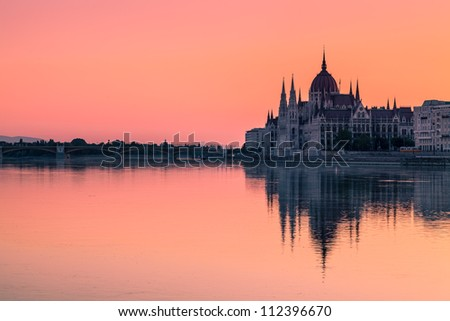 The Parliament Building in Budapest at Dawn - stock photo