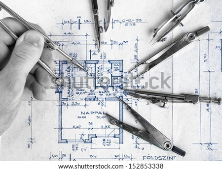 The part of architectural project with accessories - stock photo