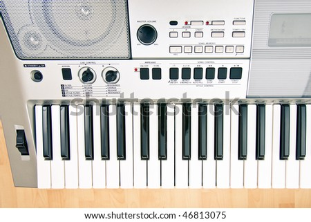 The part of  professional synthesizer keyboard, close-up - stock photo