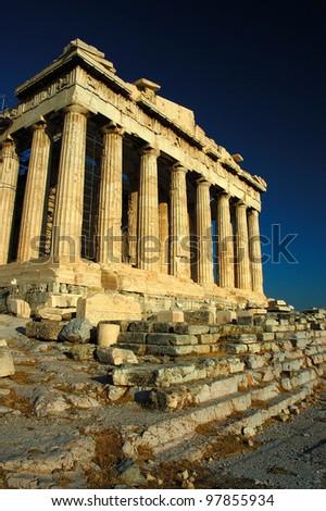 The Parthenon , a temple on the Athenian Acropolis, Greece - stock photo