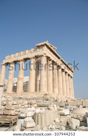 The Parthenon in Athene with blue sky