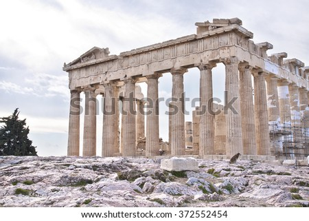 The Parthenon is a former temple on the Athenian Acropolis, Greece, dedicated to the goddess Athena, whom the people of Athens considered their patron. Greece