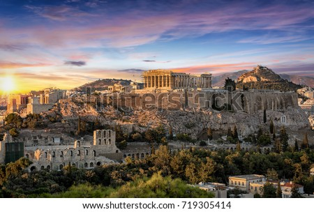 The Parthenon Temple at the Acropolis of Athens, Greece, during colorful sunset