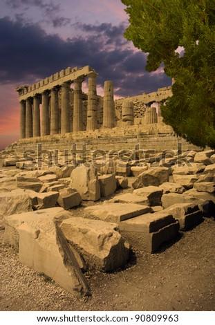 The Parthenon temple on Acropolis citadel, Greece - stock photo